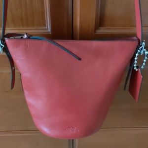 COACH NEW YORK Red Leather Bucket Bag